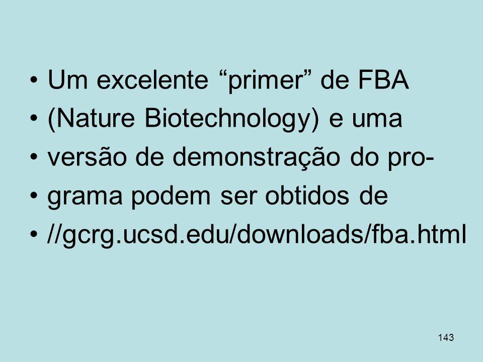143 Um excelente primer de FBA (Nature Biotechnology) e uma versão de demonstração do pro- grama podem ser obtidos de //gcrg.ucsd.edu/downloads/fba.ht
