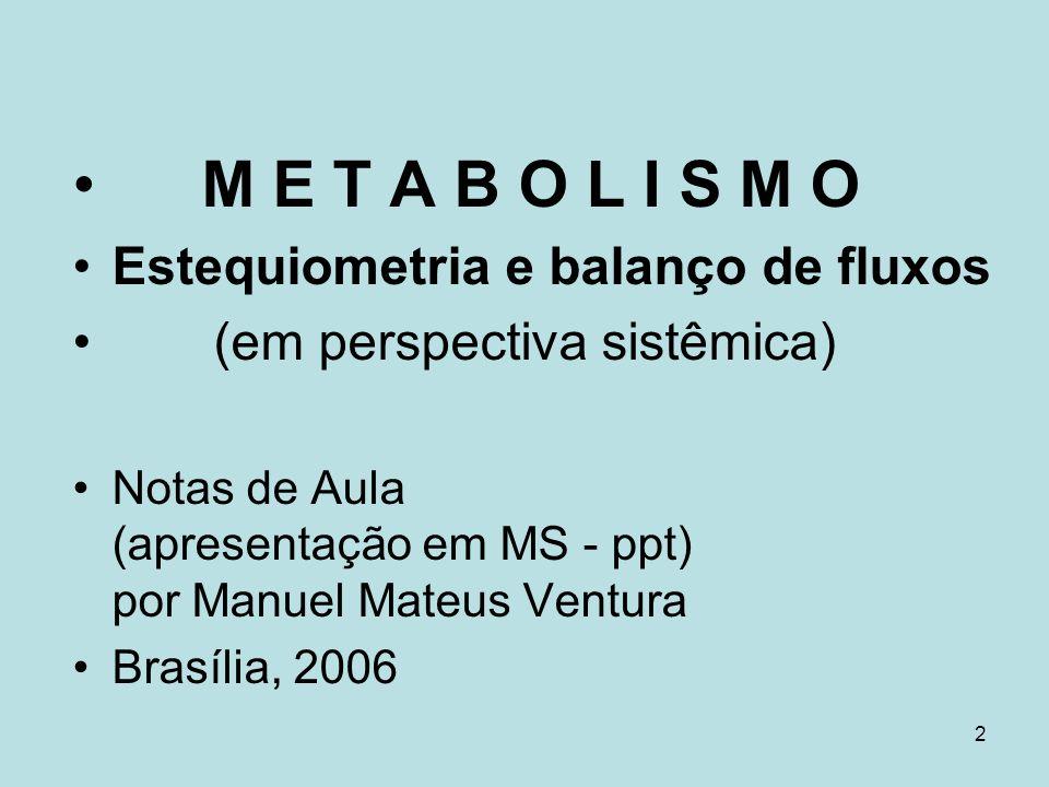 83 Equação de balanço dinâmico : dx/dt = S v Estado estacionário: dx/dt = S v = 0 Metabolitos intermediários não variam suas concentrações dentro do intervalo de tempo dos experimentos.