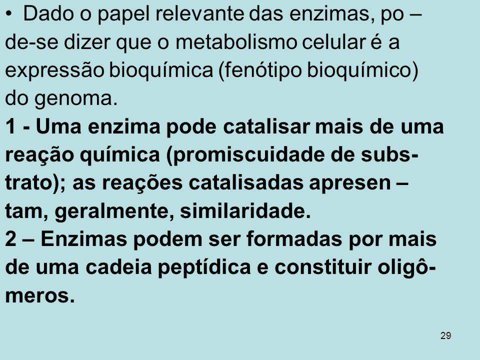 29 Dado o papel relevante das enzimas, po – de-se dizer que o metabolismo celular é a expressão bioquímica (fenótipo bioquímico) do genoma. 1 - Uma en