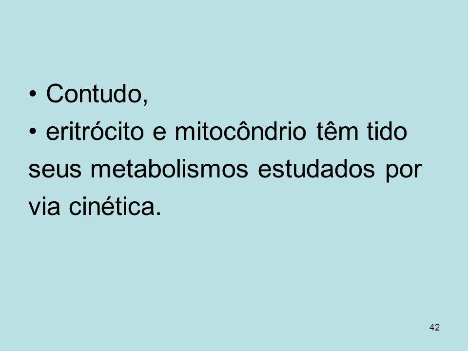 42 Contudo, eritrócito e mitocôndrio têm tido seus metabolismos estudados por via cinética.