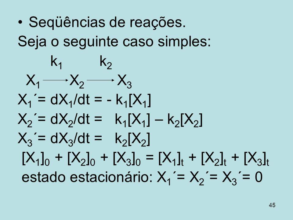 45 Seqüências de reações. Seja o seguinte caso simples: k 1 k 2 X 1 X 2 X 3 X 1 ´= dX 1 /dt = - k 1 [X 1 ] X 2 ´= dX 2 /dt = k 1 [X 1 ] – k 2 [X 2 ] X