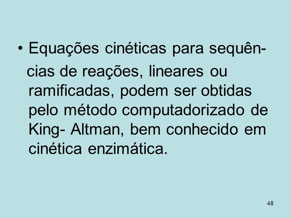 48 Equações cinéticas para sequên- cias de reações, lineares ou ramificadas, podem ser obtidas pelo método computadorizado de King- Altman, bem conhec