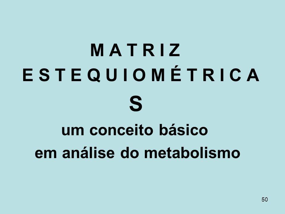 50 M A T R I Z E S T E Q U I O M É T R I C A S um conceito básico em análise do metabolismo