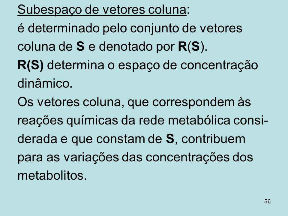 56 Subespaço de vetores coluna: é determinado pelo conjunto de vetores coluna de S e denotado por R(S). R(S) determina o espaço de concentração dinâmi