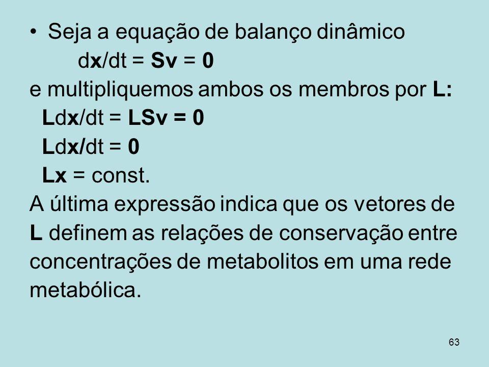63 Seja a equação de balanço dinâmico dx/dt = Sv = 0 e multipliquemos ambos os membros por L: Ldx/dt = LSv = 0 Ldx/dt = 0 Lx = const. A última express