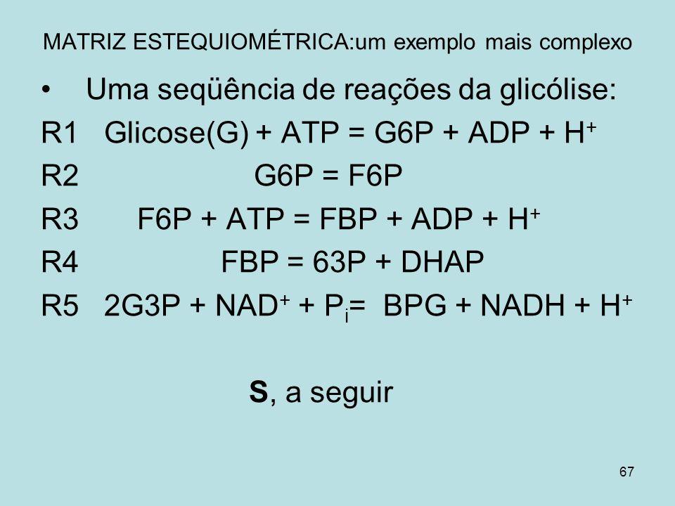 67 MATRIZ ESTEQUIOMÉTRICA:um exemplo mais complexo Uma seqüência de reações da glicólise: R1 Glicose(G) + ATP = G6P + ADP + H + R2 G6P = F6P R3 F6P +