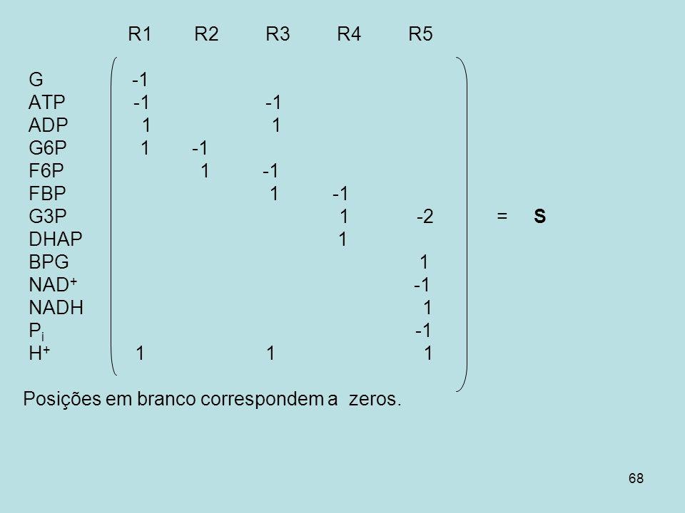 68 R1 R2 R3 R4 R5 G -1 ATP -1 -1 ADP 1 1 G6P 1 -1 F6P 1 -1 FBP 1 -1 G3P 1 -2 = S DHAP 1 BPG 1 NAD + -1 NADH 1 P i -1 H + 1 1 1 Posições em branco corr