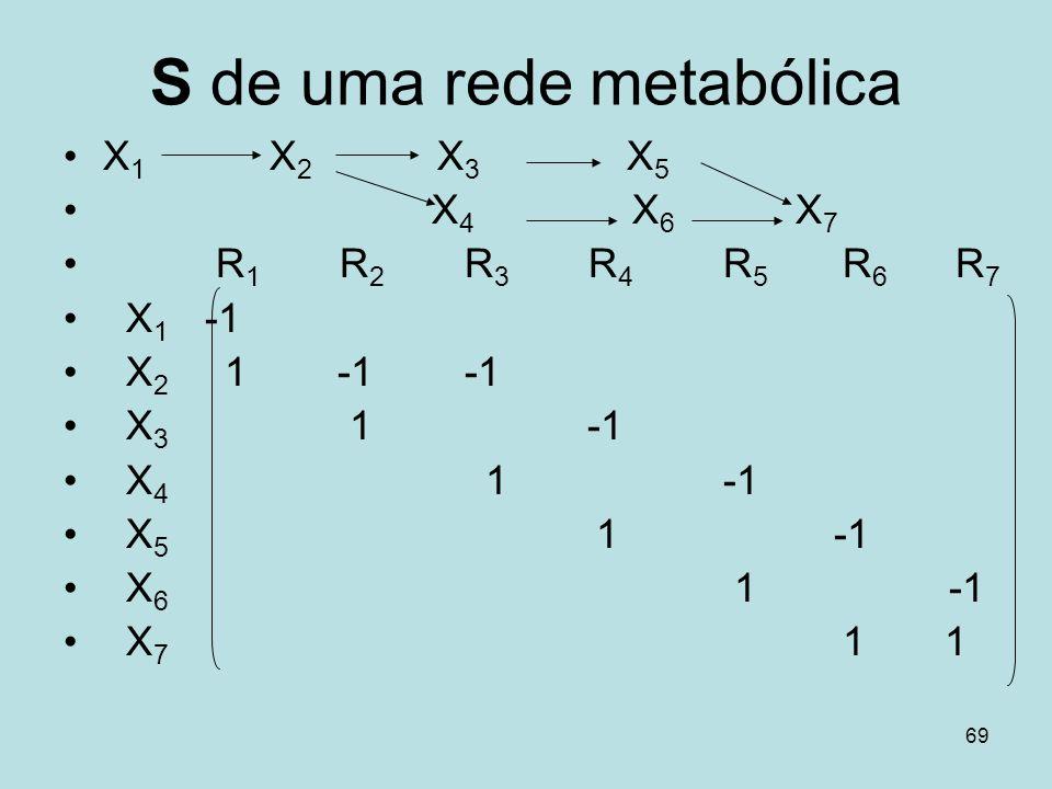 69 S de uma rede metabólica X 1 X 2 X 3 X 5 X 4 X 6 X 7 R 1 R 2 R 3 R 4 R 5 R 6 R 7 X 1 -1 X 2 1 -1 -1 X 3 1 -1 X 4 1 -1 X 5 1 -1 X 6 1 -1 X 7 1 1
