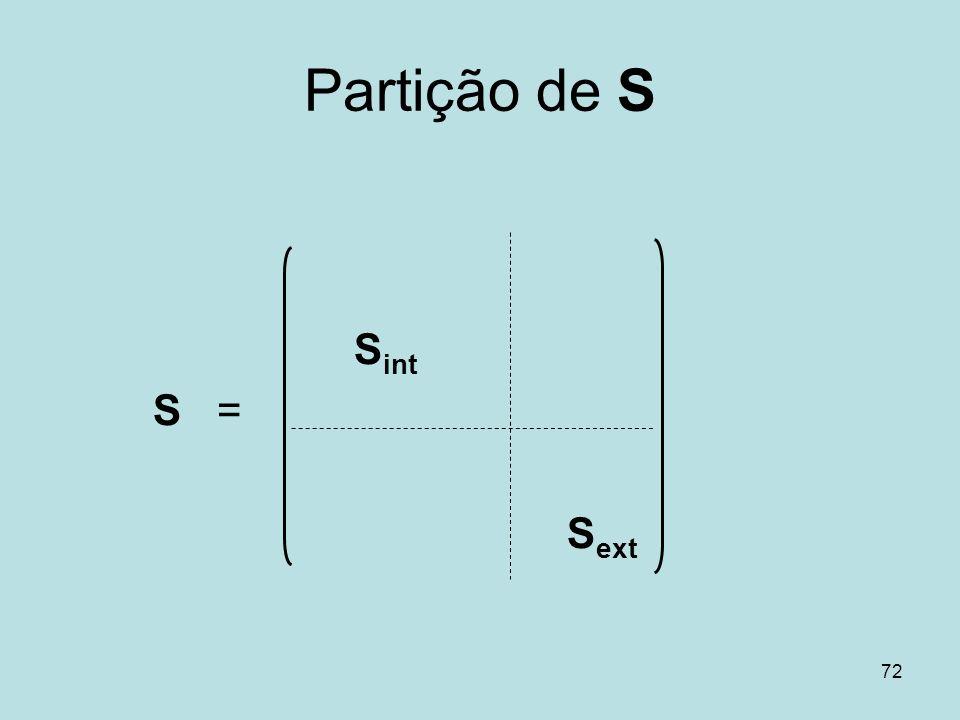 72 Partição de S S int S = S ext