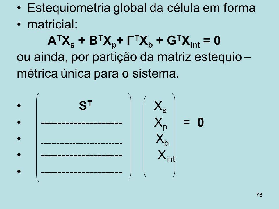 76 Estequiometria global da célula em forma matricial: A T X s + B T X p + Γ T X b + G T X int = 0 ou ainda, por partição da matriz estequio – métrica