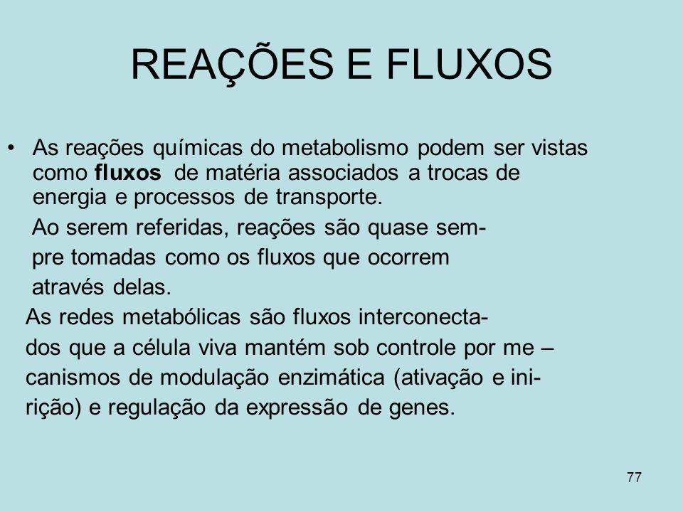 77 REAÇÕES E FLUXOS As reações químicas do metabolismo podem ser vistas como fluxos de matéria associados a trocas de energia e processos de transport