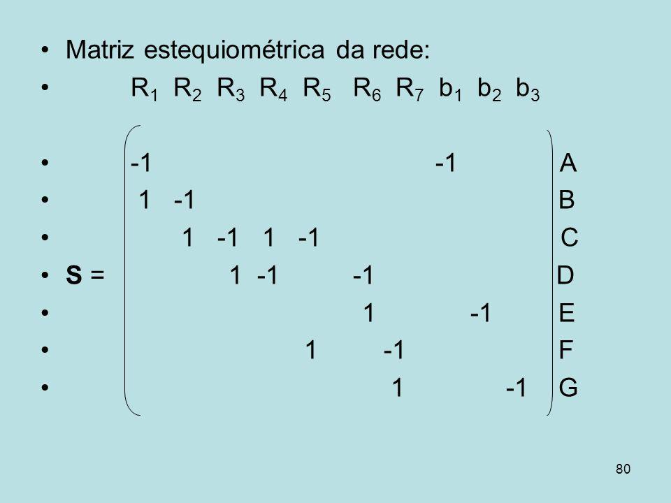 80 Matriz estequiométrica da rede: R 1 R 2 R 3 R 4 R 5 R 6 R 7 b 1 b 2 b 3 -1 -1 A 1 -1 B 1 -1 1 -1 C S = 1 -1 -1 D 1 -1 E 1 -1 F 1 -1 G