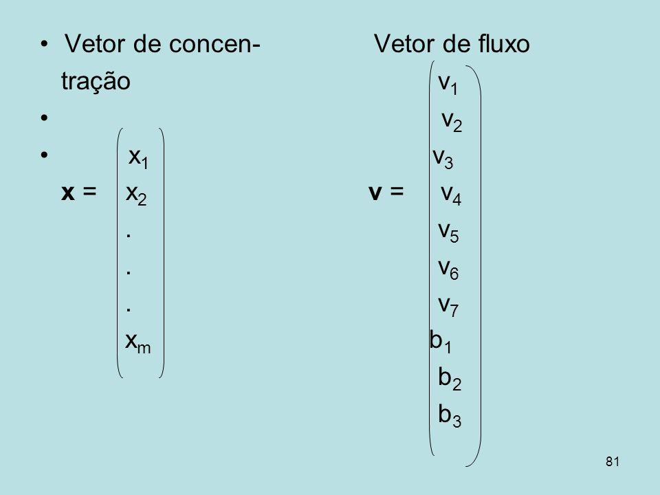 81 Vetor de concen- Vetor de fluxo tração v 1 v 2 x 1 v 3 x = x 2 v = v 4. v 5. v 6. v 7 x m b 1 b 2 b 3