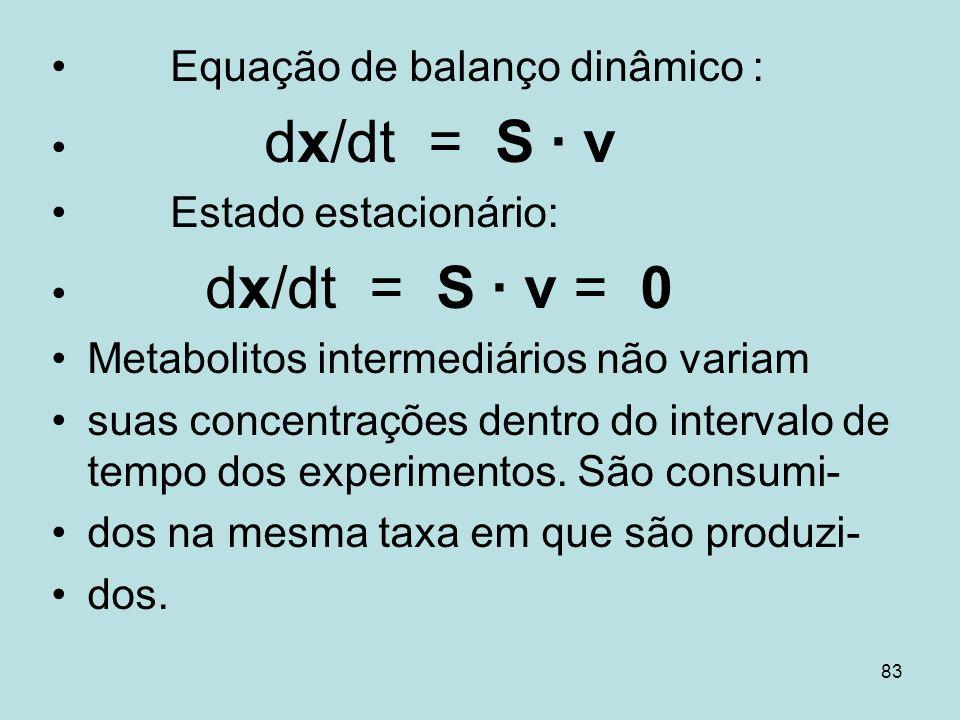 83 Equação de balanço dinâmico : dx/dt = S v Estado estacionário: dx/dt = S v = 0 Metabolitos intermediários não variam suas concentrações dentro do i
