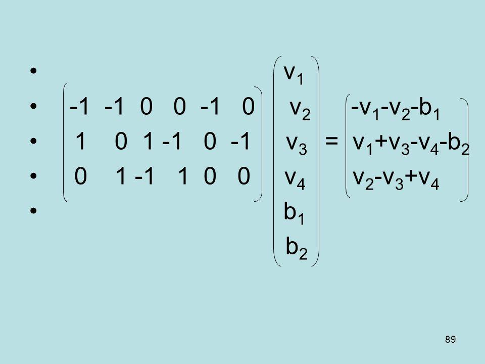 89 v 1 -1 -1 0 0 -1 0 v 2 -v 1 -v 2 -b 1 1 0 1 -1 0 -1 v 3 = v 1 +v 3 -v 4 -b 2 0 1 -1 1 0 0 v 4 v 2 -v 3 +v 4 b 1 b 2