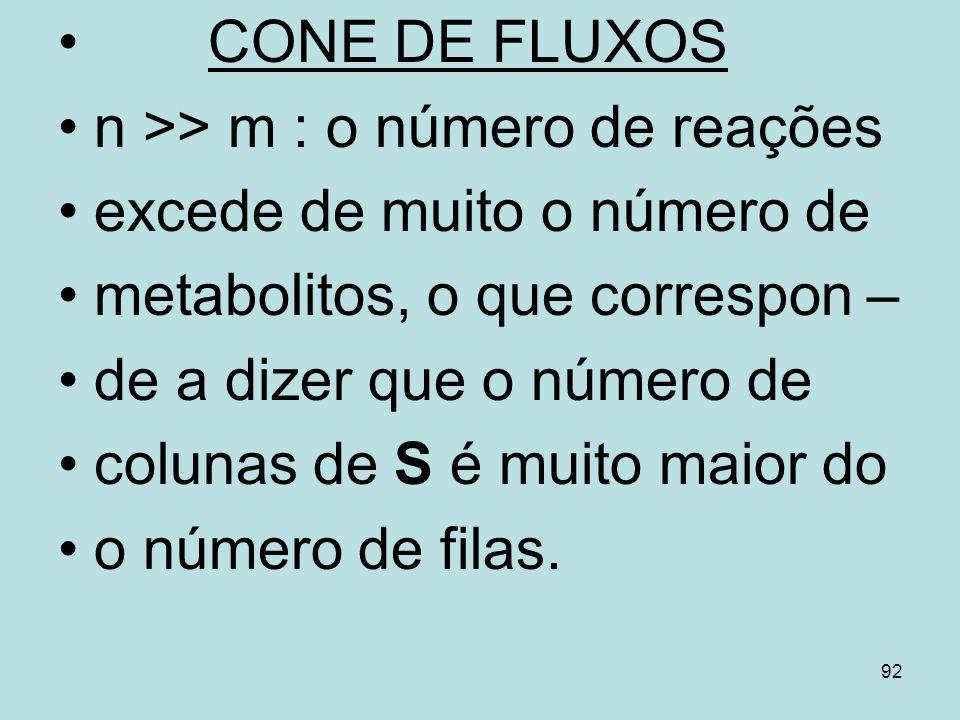 92 CONE DE FLUXOS n >> m : o número de reações excede de muito o número de metabolitos, o que correspon – de a dizer que o número de colunas de S é mu