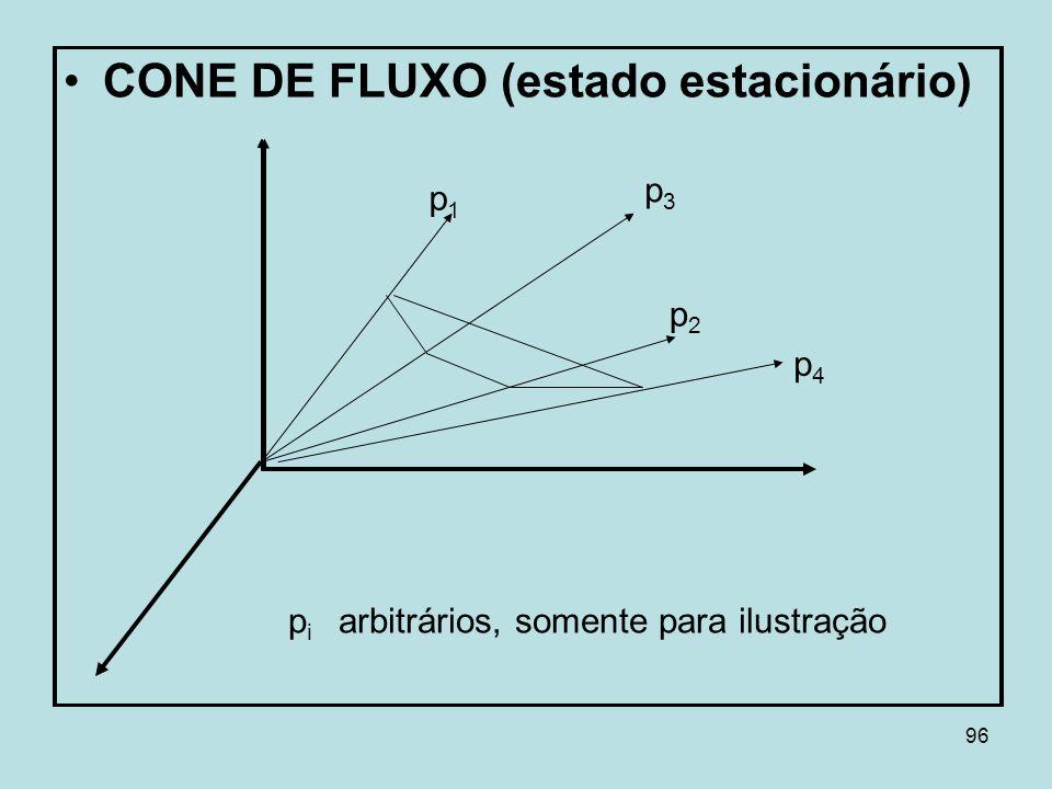 96 CONE DE FLUXO (estado estacionário) p1p1 p3p3 p2p2 p4p4 p i arbitrários, somente para ilustração