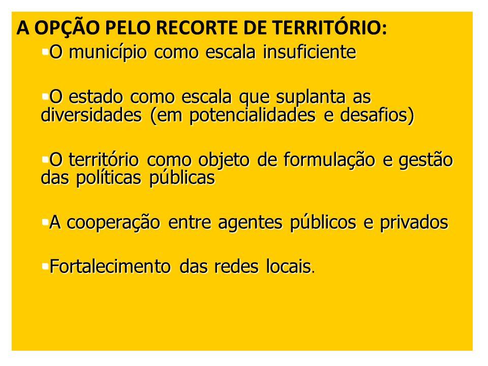 A OPÇÃO PELO RECORTE DE TERRITÓRIO: O município como escala insuficiente O município como escala insuficiente O estado como escala que suplanta as div