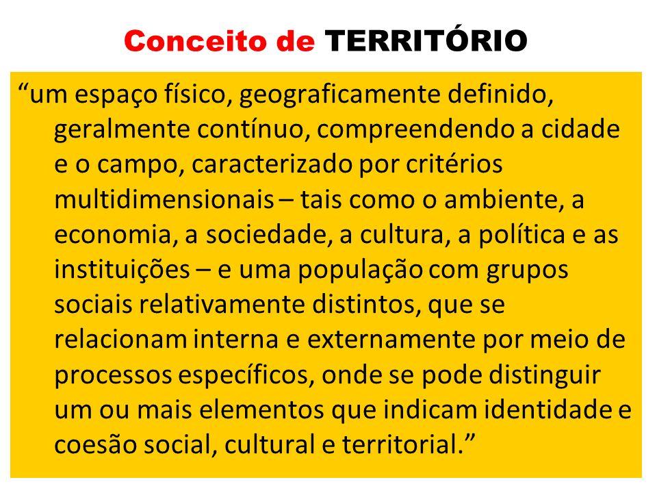 Conceito de TERRITÓRIO um espaço físico, geograficamente definido, geralmente contínuo, compreendendo a cidade e o campo, caracterizado por critérios