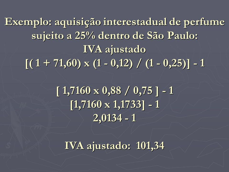 Exemplo: aquisição interestadual de perfume sujeito a 25% dentro de São Paulo: IVA ajustado [( 1 + 71,60) x (1 - 0,12) / (1 - 0,25)] - 1 [ 1,7160 x 0,