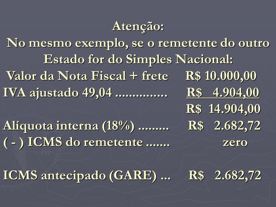 Atenção: No mesmo exemplo, se o remetente do outro Estado for do Simples Nacional: Valor da Nota Fiscal + frete R$ 10.000,00 IVA ajustado 49,04.......