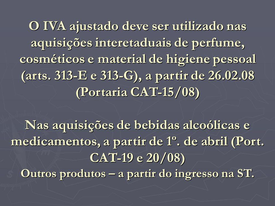 O IVA ajustado deve ser utilizado nas aquisições interetaduais de perfume, cosméticos e material de higiene pessoal (arts. 313-E e 313-G), a partir de