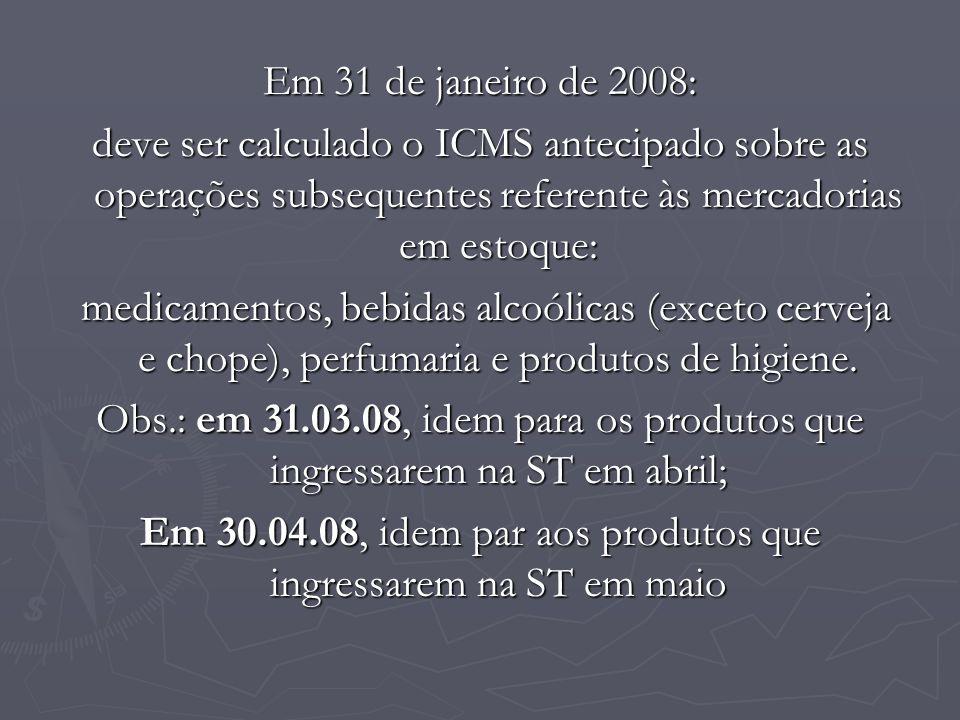 Em 31 de janeiro de 2008: deve ser calculado o ICMS antecipado sobre as operações subsequentes referente às mercadorias em estoque: medicamentos, bebi