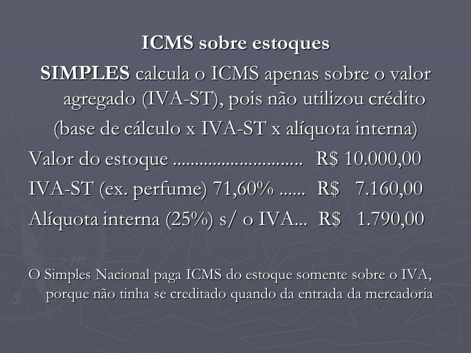 ICMS sobre estoques SIMPLES calcula o ICMS apenas sobre o valor agregado (IVA-ST), pois não utilizou crédito (base de cálculo x IVA-ST x alíquota inte