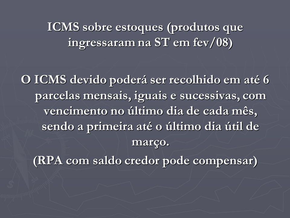 ICMS sobre estoques (produtos que ingressaram na ST em fev/08) O ICMS devido poderá ser recolhido em até 6 parcelas mensais, iguais e sucessivas, com