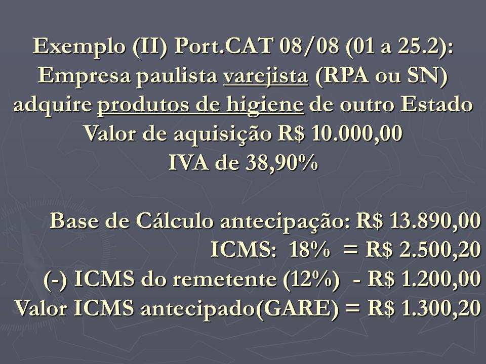 Exemplo (II) Port.CAT 08/08 (01 a 25.2): Empresa paulista varejista (RPA ou SN) adquire produtos de higiene de outro Estado Valor de aquisição R$ 10.0