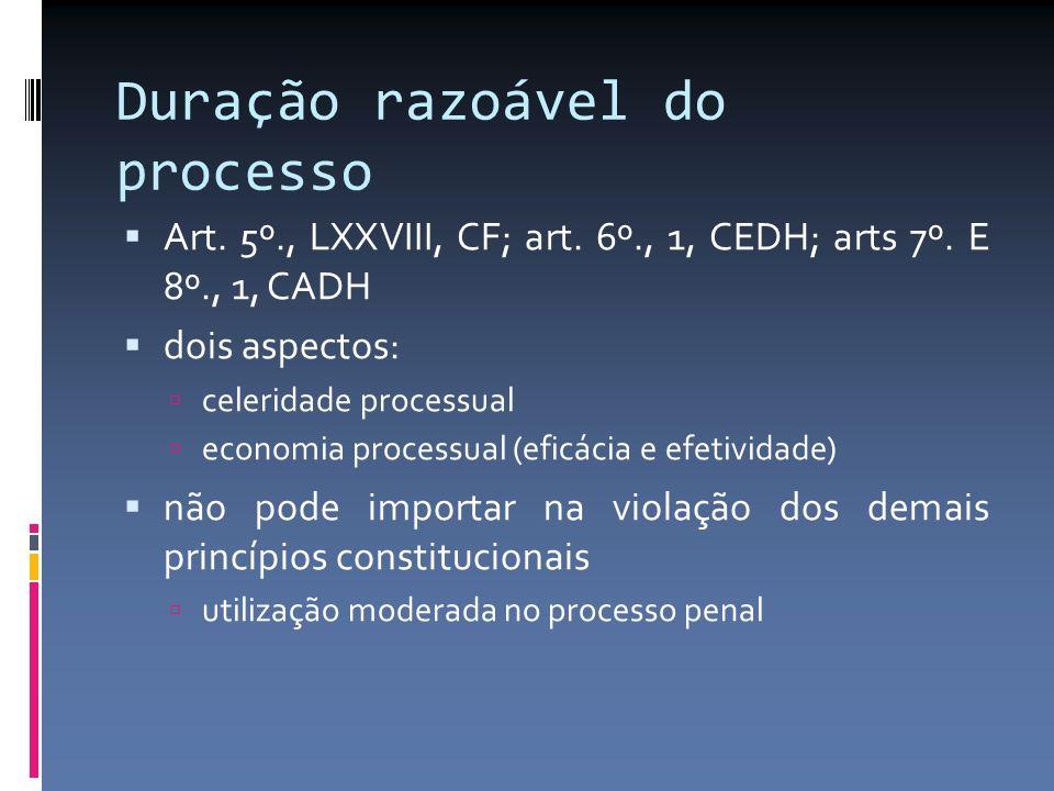 Duração razoável do processo Art. 5º., LXXVIII, CF; art.