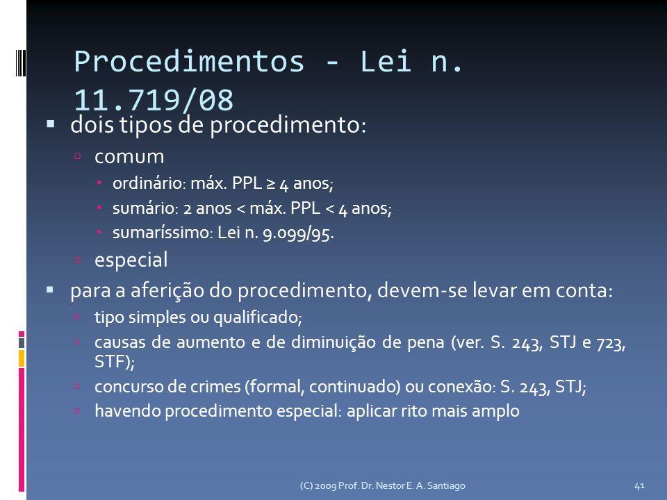 Procedimentos - Lei n. 11.719/08 dois tipos de procedimento: comum ordinário: máx.