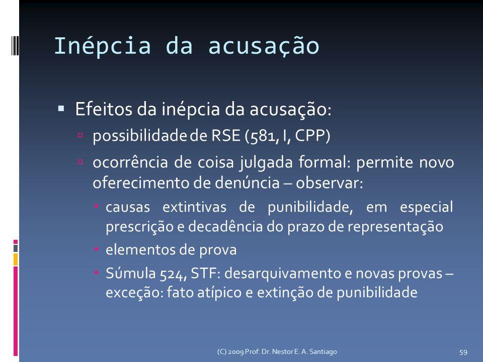 Inépcia da acusação Efeitos da inépcia da acusação: possibilidade de RSE (581, I, CPP) ocorrência de coisa julgada formal: permite novo oferecimento de denúncia – observar: causas extintivas de punibilidade, em especial prescrição e decadência do prazo de representação elementos de prova Súmula 524, STF: desarquivamento e novas provas – exceção: fato atípico e extinção de punibilidade (C) 2009 Prof.