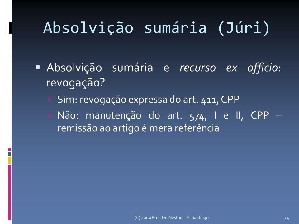 Absolvição sumária (Júri) Absolvição sumária e recurso ex officio: revogação.