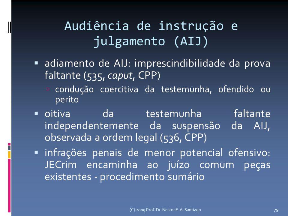 Audiência de instrução e julgamento (AIJ) adiamento de AIJ: imprescindibilidade da prova faltante (535, caput, CPP) condução coercitiva da testemunha, ofendido ou perito oitiva da testemunha faltante independentemente da suspensão da AIJ, observada a ordem legal (536, CPP) infrações penais de menor potencial ofensivo: JECrim encaminha ao juízo comum peças existentes - procedimento sumário (C) 2009 Prof.