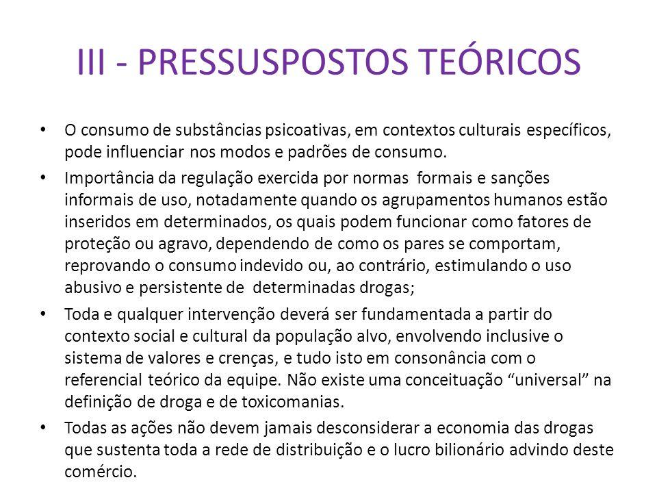 III - PRESSUSPOSTOS TEÓRICOS O consumo de substâncias psicoativas, em contextos culturais específicos, pode influenciar nos modos e padrões de consumo