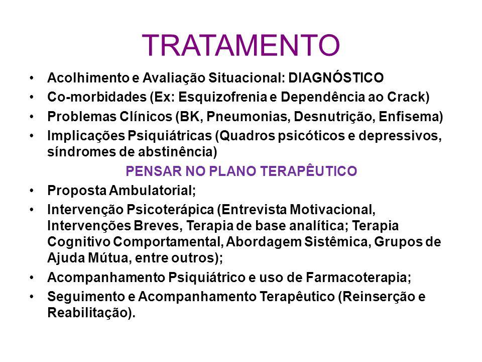 TRATAMENTO Acolhimento e Avaliação Situacional: DIAGNÓSTICO Co-morbidades (Ex: Esquizofrenia e Dependência ao Crack) Problemas Clínicos (BK, Pneumonia