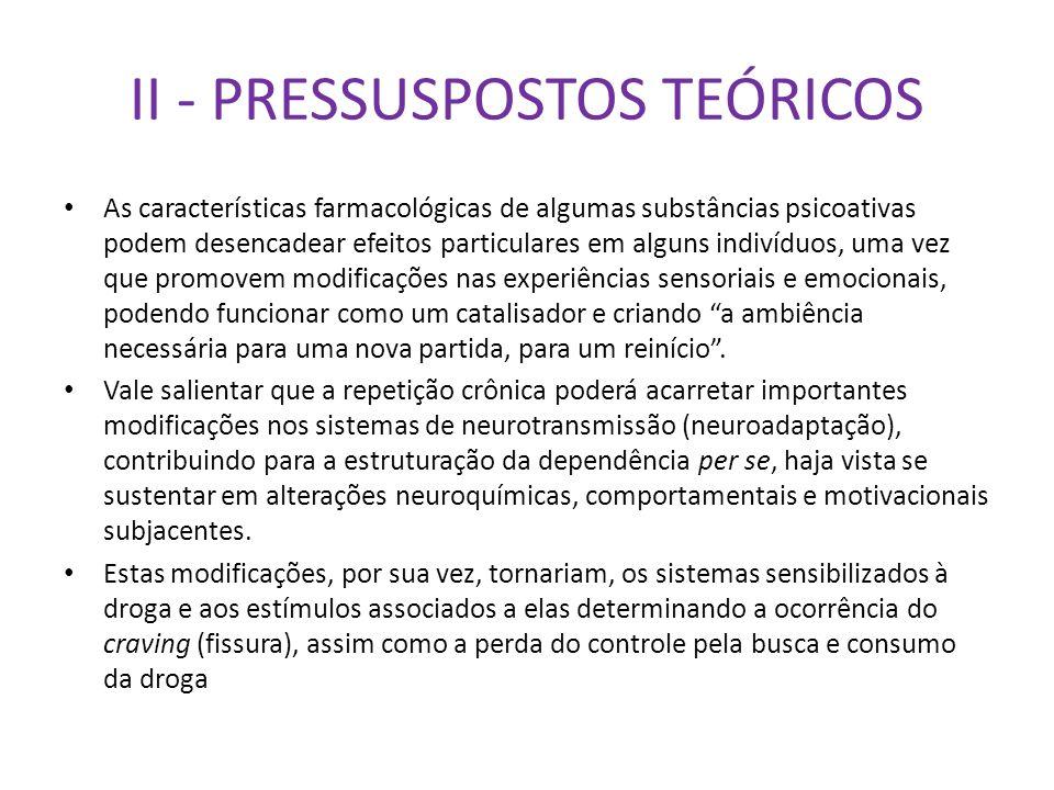 II - PRESSUSPOSTOS TEÓRICOS As características farmacológicas de algumas substâncias psicoativas podem desencadear efeitos particulares em alguns indi