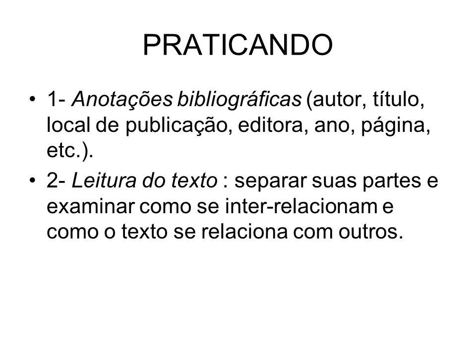 PRATICANDO 1- Anotações bibliográficas (autor, título, local de publicação, editora, ano, página, etc.). 2- Leitura do texto : separar suas partes e e