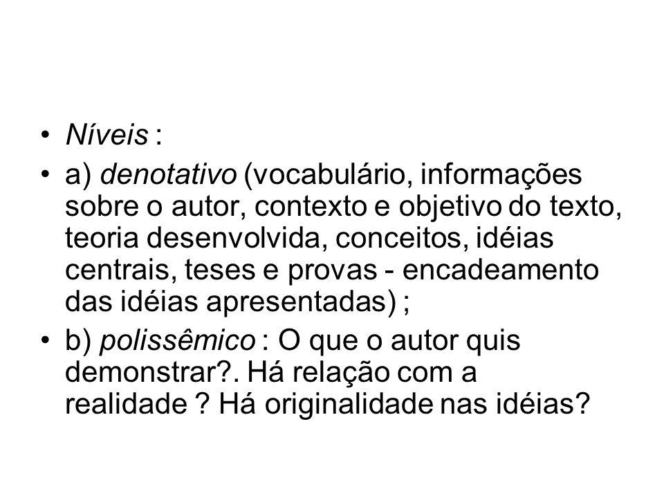 Níveis : a) denotativo (vocabulário, informações sobre o autor, contexto e objetivo do texto, teoria desenvolvida, conceitos, idéias centrais, teses e