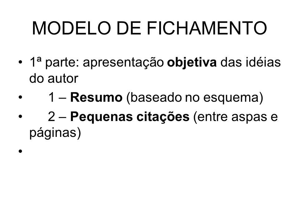 MODELO DE FICHAMENTO 1ª parte: apresentação objetiva das idéias do autor 1 – Resumo (baseado no esquema) 2 – Pequenas citações (entre aspas e páginas)