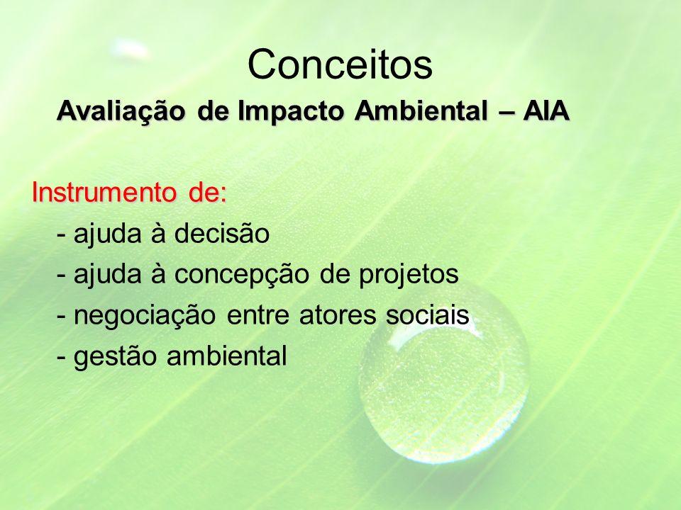Conceitos Avaliação de Impacto Ambiental – AIA Instrumento de: - ajuda à decisão - ajuda à concepção de projetos - negociação entre atores sociais - gestão ambiental