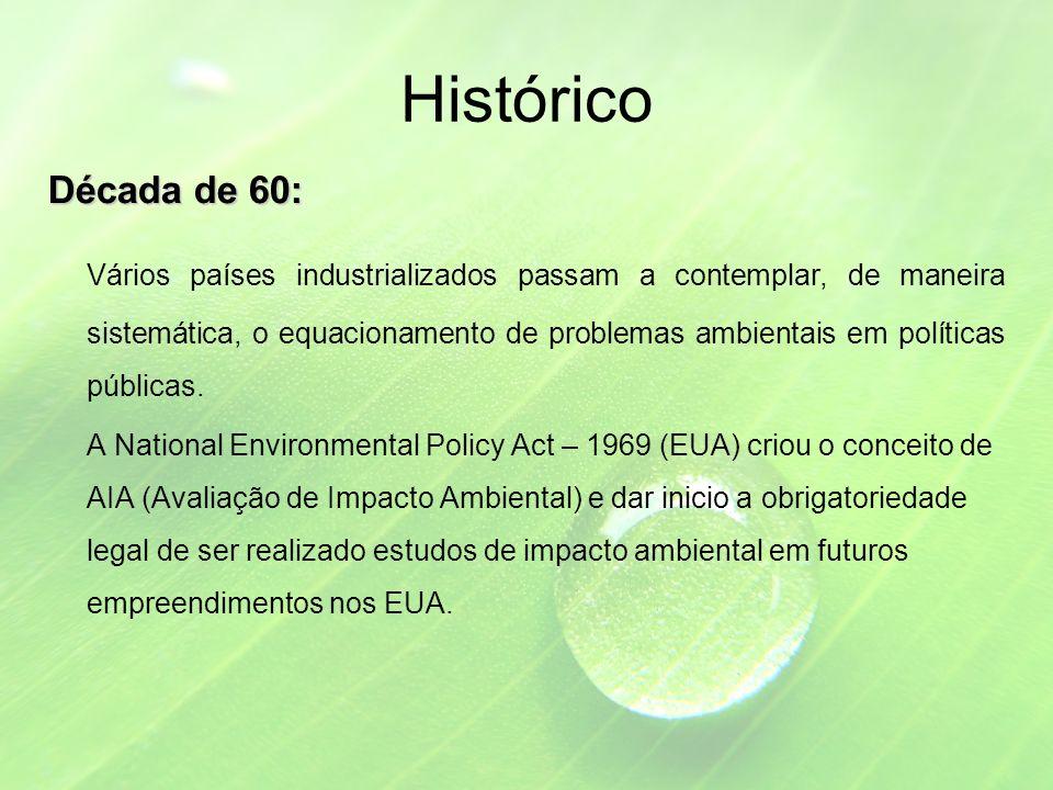 Histórico Década de 60: Vários países industrializados passam a contemplar, de maneira sistemática, o equacionamento de problemas ambientais em políticas públicas.