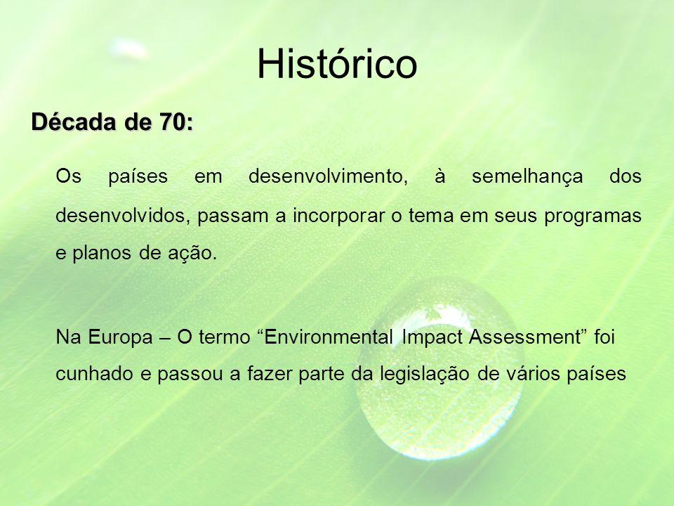 Histórico Década de 70: Os países em desenvolvimento, à semelhança dos desenvolvidos, passam a incorporar o tema em seus programas e planos de ação.