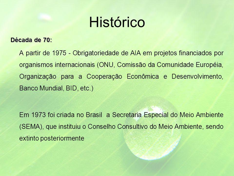 Histórico Década de 70: A partir de 1975 - Obrigatoriedade de AIA em projetos financiados por organismos internacionais (ONU, Comissão da Comunidade Européia, Organização para a Cooperação Econômica e Desenvolvimento, Banco Mundial, BID, etc.) Em 1973 foi criada no Brasil a Secretaria Especial do Meio Ambiente (SEMA), que instituiu o Conselho Consultivo do Meio Ambiente, sendo extinto posteriormente