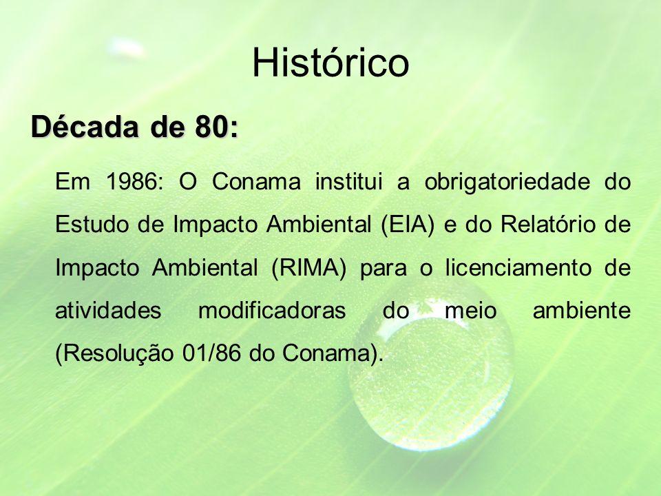 Histórico Década de 80: Em 1986: O Conama institui a obrigatoriedade do Estudo de Impacto Ambiental (EIA) e do Relatório de Impacto Ambiental (RIMA) para o licenciamento de atividades modificadoras do meio ambiente (Resolução 01/86 do Conama).