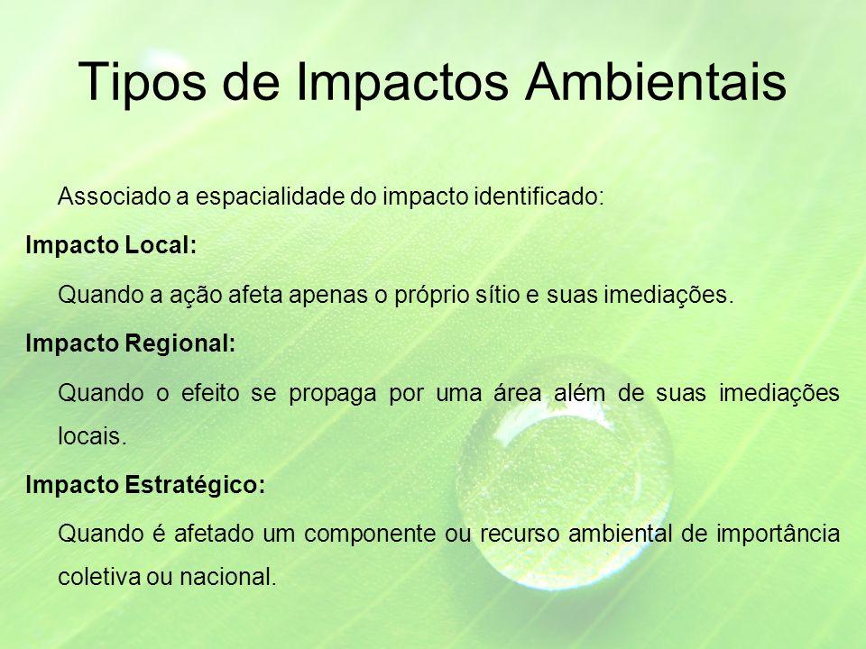 Tipos de Impactos Ambientais Associado a espacialidade do impacto identificado: Impacto Local: Quando a ação afeta apenas o próprio sítio e suas imediações.