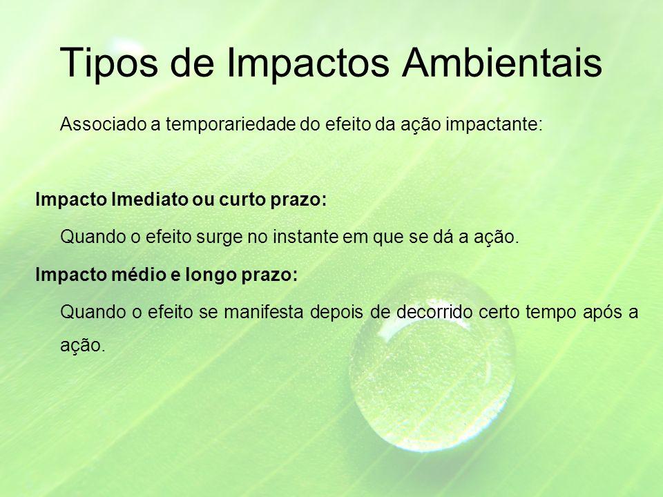 Tipos de Impactos Ambientais Associado a temporariedade do efeito da ação impactante: Impacto Imediato ou curto prazo: Quando o efeito surge no instante em que se dá a ação.