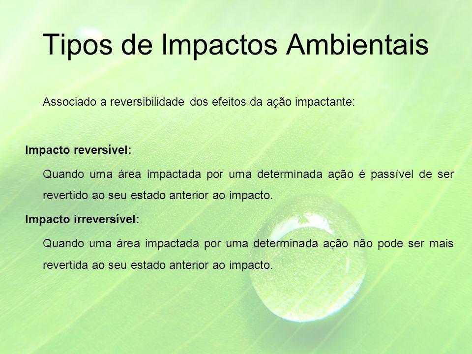 Tipos de Impactos Ambientais Associado a reversibilidade dos efeitos da ação impactante: Impacto reversível: Quando uma área impactada por uma determinada ação é passível de ser revertido ao seu estado anterior ao impacto.