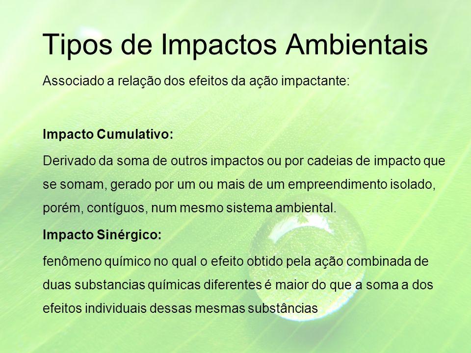 Tipos de Impactos Ambientais Associado a relação dos efeitos da ação impactante: Impacto Cumulativo: Derivado da soma de outros impactos ou por cadeias de impacto que se somam, gerado por um ou mais de um empreendimento isolado, porém, contíguos, num mesmo sistema ambiental.